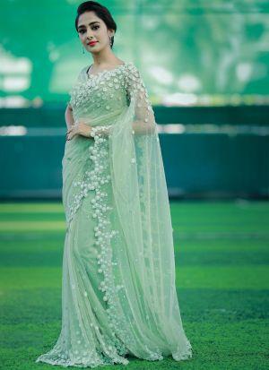 Party Wear Mint Green Mono Net Mirror Work Saree