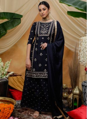 Party Wear Navy Chinon Fabric Eid Special Palazzo Suits