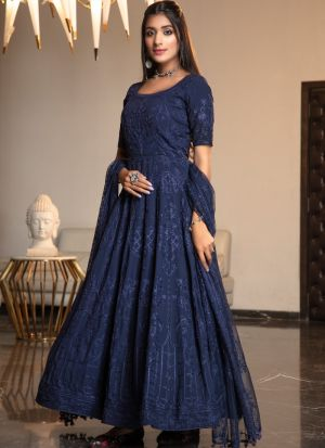 Party Wear Navy Net Thread Embroidered Work Gown