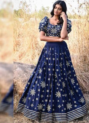 Party Wear Navy Taffeta Silk Embroidered Designer Lehenga Choli