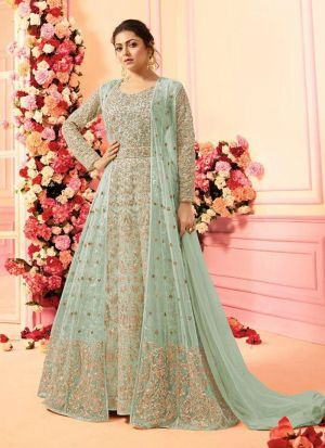 Party Wear Parrot Heavy Net Anarkali Style Long Salwar Kameez