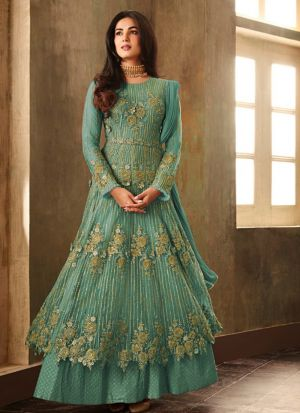 Party Wear Rama Heavy Net Anarkali Style Long Salwar Kameez