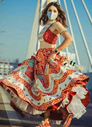 Party Wear White Bandhani Digital Print Lehenga Choli