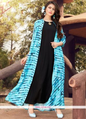 Partywear Designer Black And Sky Blue Heavy Rayon Gown