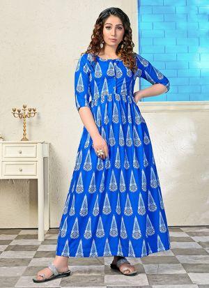 Partywear Designer Blue Digital Print Pure Muslin Gown