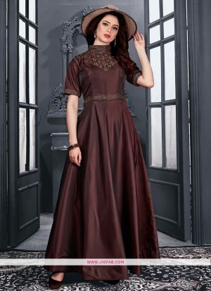 Partywear Designer Brown Taffeta Satin Gown