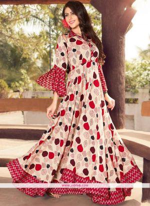 Partywear Designer Cream Heavy Rayon Printed Gown