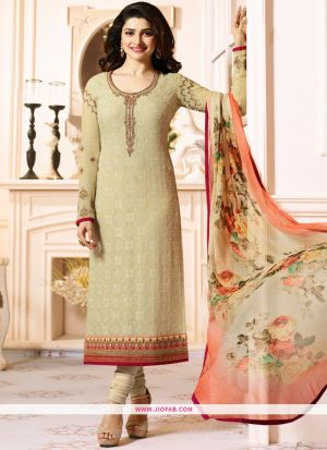 Partywear Designer Embroidered Beige Straight Suit