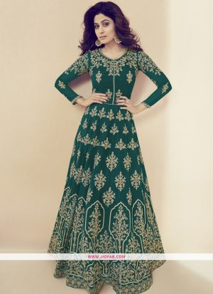 Partywear Designer Embroidered Green Georgette Partywear Suit