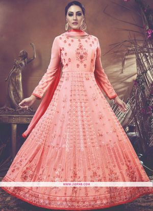 Partywear Designer Embroidered Peach Foux Georgette Anarkali Suit
