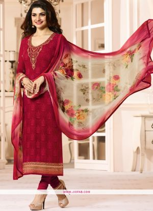 Partywear Designer Embroidered Red Straight Suit