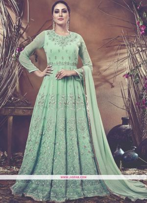 Partywear Designer Embroidered Sea Green Foux Georgette Anarkali Suit