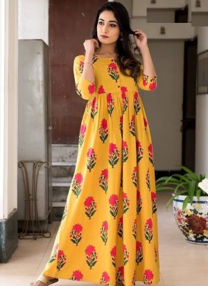 Partywear Designer Gold Yellow Pure Muslin Gown