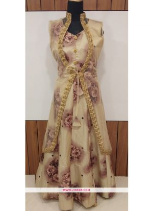 Partywear Designer Golden And Light Pink Bamboo Silk Gown