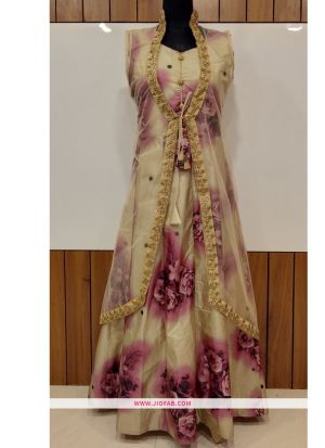 Partywear Designer Golden And Pink Bamboo Silk Fusing Work Gown