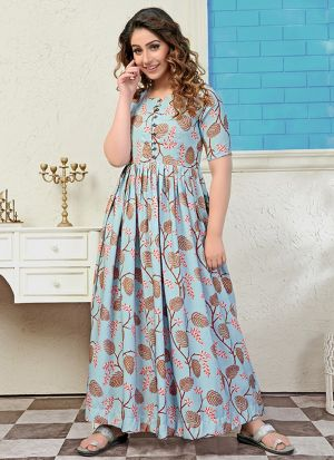Partywear Designer Light Steel Blue Digital Print Pure Muslin Gown