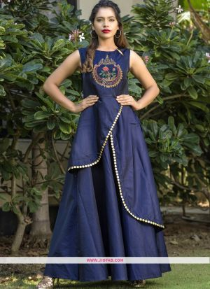 Partywear Designer Royal Blue Taffeta Silk Hand Work Gown