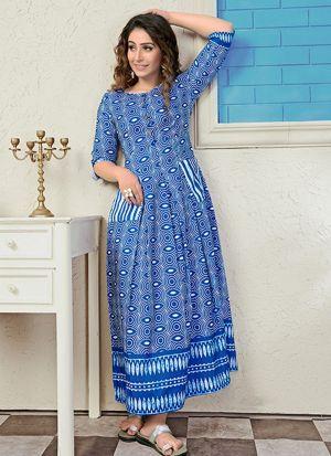 Partywear Designer Steel Blue Digital Print Pure Muslin Gown