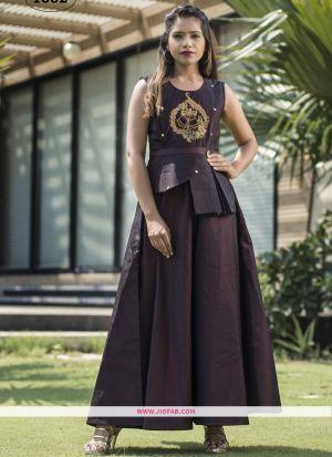Partywear Designer Wine Taffeta Silk Gown