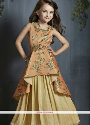 Partywear Frock Design Ideas For Little Girl Dresses In Orange And Cream