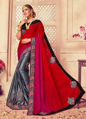 Partywear Grey Classic Thread Multi Work Saree