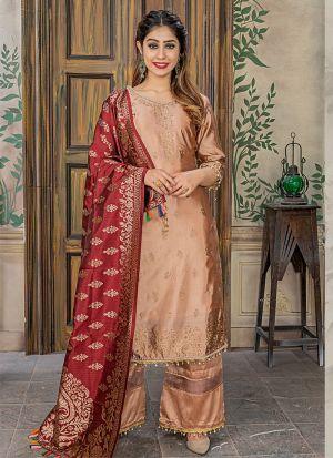 Peach Banarasi Jacquard Pakistani Salwar Suit