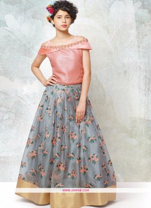 Peach Banglori Silk Lehenga Choli For Kids Girl Collection