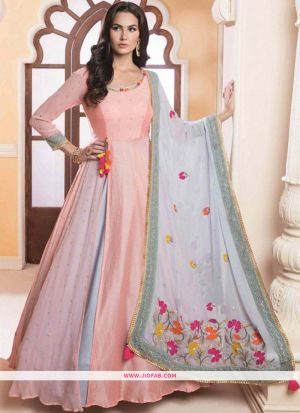 Peach Color Diwali Special Designer Gown latest fashion collection