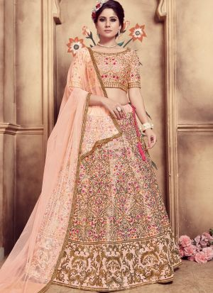 Peach Color Multi Rubber Foil Work Silk Designer Lehenga Choli