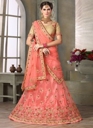 Peach Color Net Party Wear Lehenga Choli