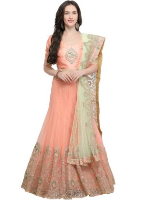Peach Color Net Traditional Lehenga Choli