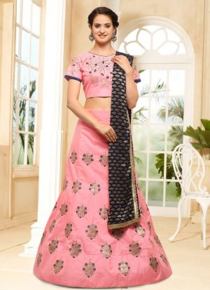 Peach Designer Wedding Lehenga Choli With Silk Fabric