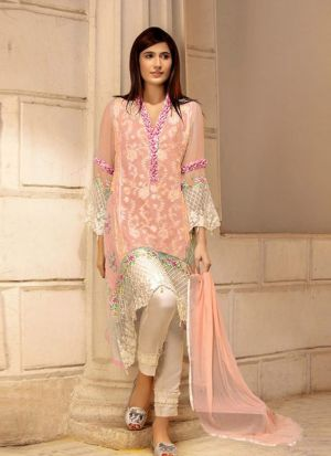 Peach Georgette Embroidered Pakistani Suit