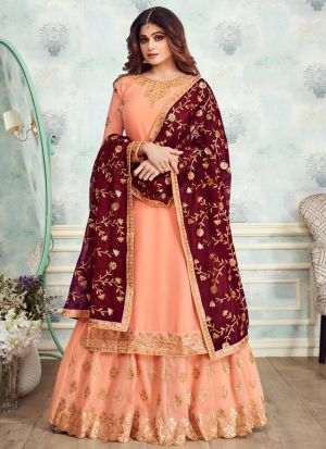 Peach Georgette Embroidered Skirt Kameez