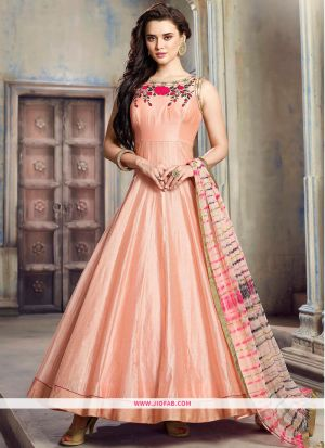 Peach Hand Work Twill Armani Silk Designer Gown Collection