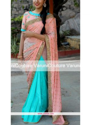 Peach Latest Indian 60 Gm Georgette Designer Saree NX 309