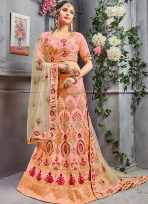 Peach Pure Silk Indian Wedding Lehenga Choli