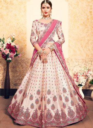 Peach Satin Designer Lehenga Choli For Sangeet