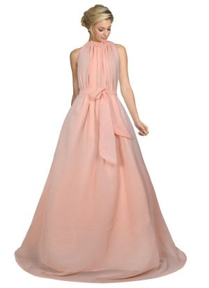 Peach Sleevless One Piece Western Gown