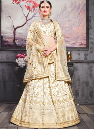 Pearl White Phantom Silk Wedding Designer Bridal Lehenga With Bridal Net Dupatta
