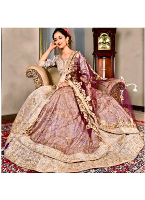 Periwinkle Color Wedding Bridal Lehenga Choli In Phantom Silk With Soft Net Dupatta