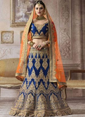 Picture of Splendid Blue Banglori Satin Silk Thread Work Designer Lehenga