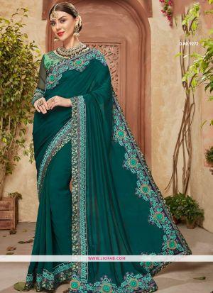 Picture Of Traditional Dark Green Georgette Chiffon Saree
