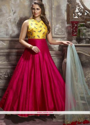 Pink Color Diwali Special Designer Gown latest fashion collection