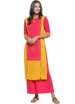Pink Cotton Flex Designer Kurtis For Girl