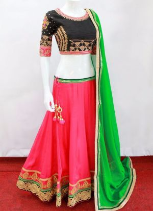 Pink Embroidered Stone Work Bridal silk Fabric Traditional Designer Lehenga With Chiffon Silk Dupatta