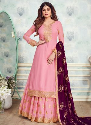 Pink Georgette Embroidered Skirt Kameez