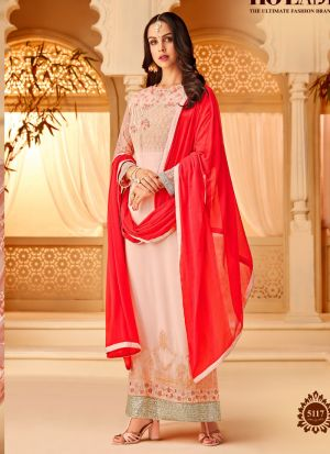 Pink Georgette Embroidered Staraight Pakistani Salwar Kameez For Eid
