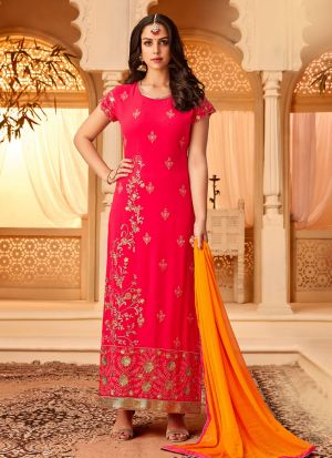 Pink Georgette Embroidered Staraight Pakistani Salwar Kameez