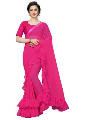 Pink Georgette Solid Trendy Designer Ruffle Saree